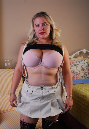 Mature with short blonde hair shows off 3