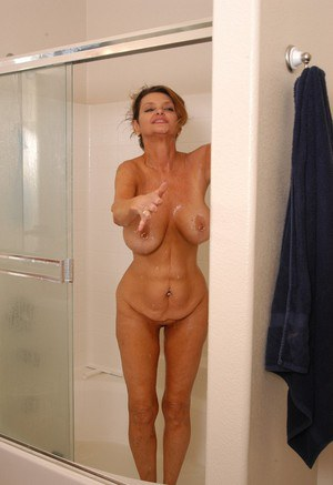 Nice Mom in shower naked way was